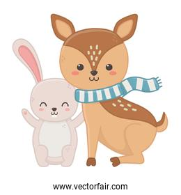 cute deer with scarf and rabbit hello autumn