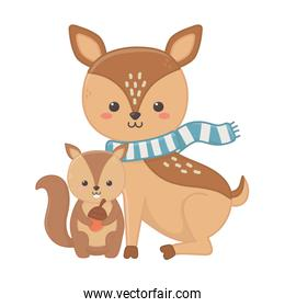 cute deer with scarf and squirrel holding acorn hello autumn