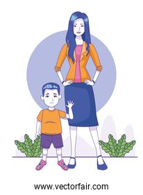 cartoon woman with little boy icon, colorful design