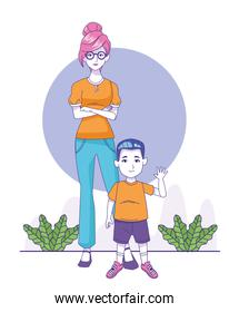 cartoon woman with little boy standing, colorful design
