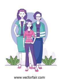 old woman, woman and teenager girl standing, colorful design