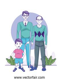 man, old man and little boy standing, colorful design