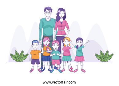 happy family with little kids, colorful design