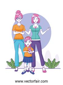 cartoon women and little girl standing, colorful design