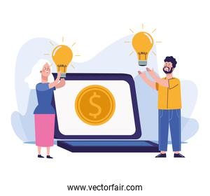 man and woman with bulb lights and laptop computer with money coin