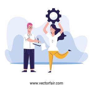 cartoon man and woman holding up a gear wheel, colorful design
