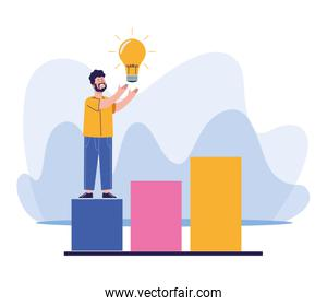 man with bulb light standing on chart bar graph, colorful design