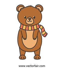 cute bear standing with scarf autumn on white background