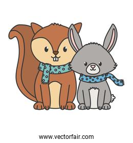 cute squirrel and rabbit with scarf autumn