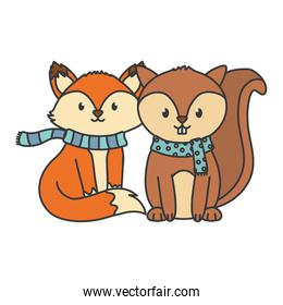 pretty fox and squirrel with scarf autumn