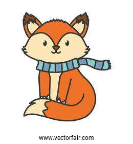 fox with scarf autumn on white background