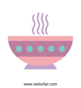 hot soup bowl food on white background