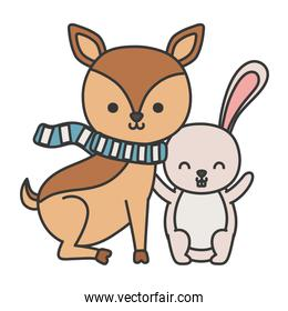 pretty  deer with scarf and rabbit hello autumn