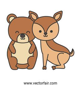 little cute bear and deer animals isolated icon