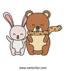 cute bear with scarf and rabbit hello autumn