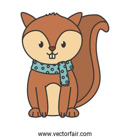 cute squirrel with scarf autumn on white background