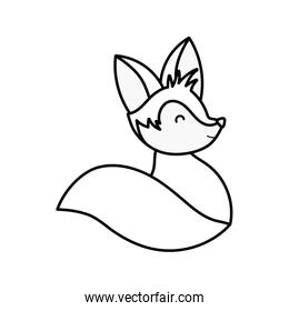 cute fox sitting on white background thick line
