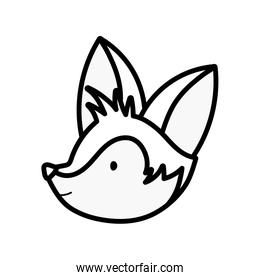 cute fox head on white background thick line