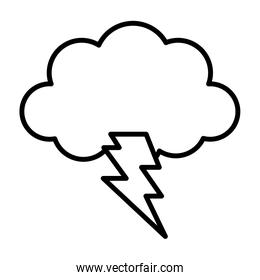 storm cloud thunderbolt weather design icon thick line