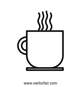 hot coffee cup on dish beverage icon thick line