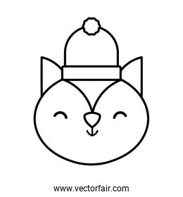little cute squirrel head with hat cartoon thick line
