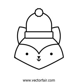 little cute fox head with hat cartoon thick line