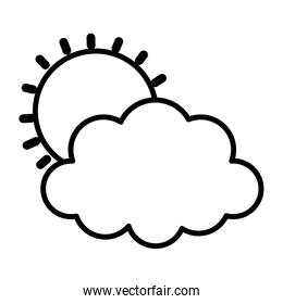 weather summer sun cloud icon thick line