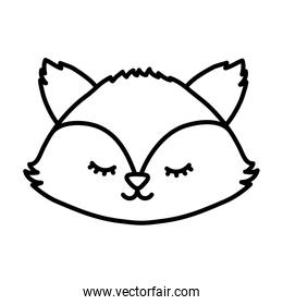 cute fox head autumn on white background thick line