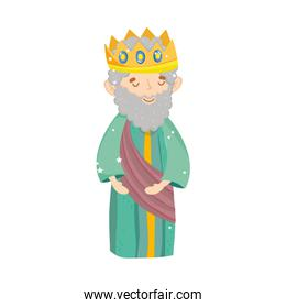 wise king with crown manger nativity, merry christmas