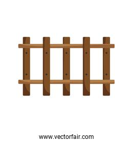 wooden fence farm on white background