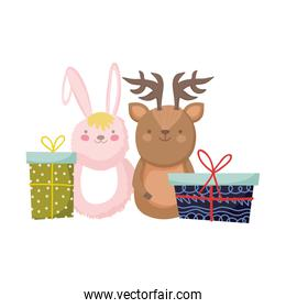 merry christmas celebration rabbit and reindeer with gifts