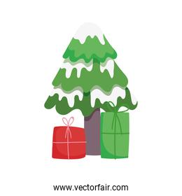 merry christmas tree with snow and gift boxes celebration