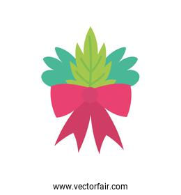 merry christmas celebration red ribbon bow and foliage