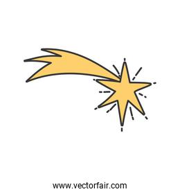 gold shooting star bright ornament icon
