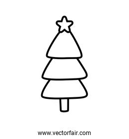 pine tree with star decoration christmas thick line