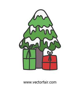 isolated tree with snow and gift boxes celebration