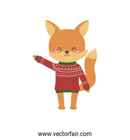 merry christmas celebration cute fox with ugly sweater decoration