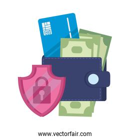 wallet with credit card and shield