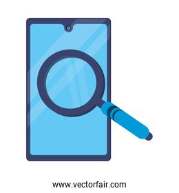 smartphone with magnifying glass icon