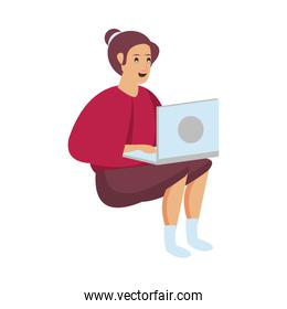 woman working with laptop character