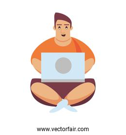 man working with computer character