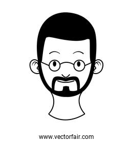 head young man with beard character