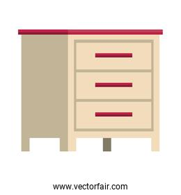 wooden drawer forniture isolated icon