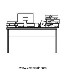 desk with computer desktop and pile documents