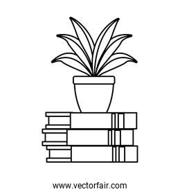 houseplant in pile books home decoration linear style