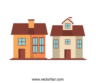 houses fronts facades isolated icons