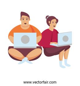 couple working with laptops characters
