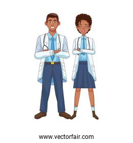 professional doctors couple afro avatars characters