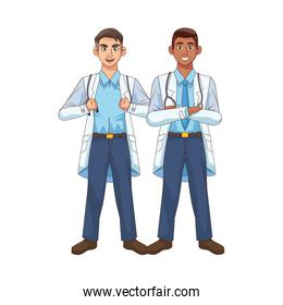 professional interracial doctors staff avatars characters