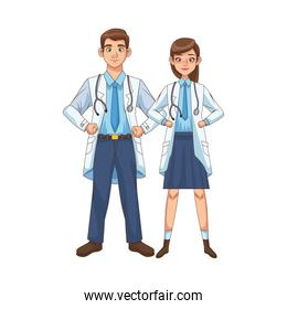 professional doctors couple avatars characters